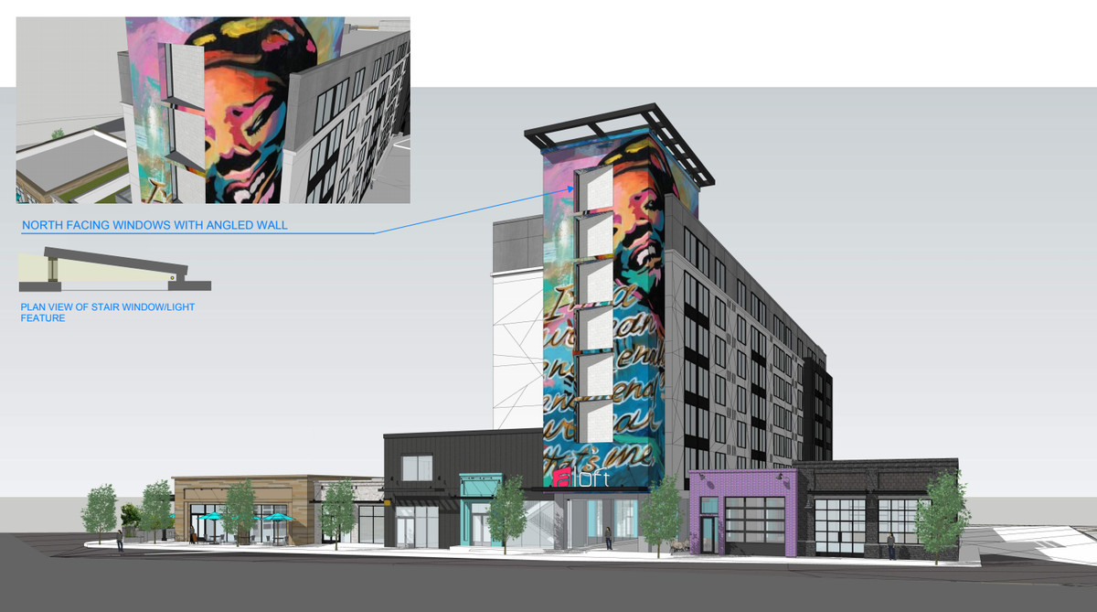 A rendering shows the exterior of a stairwell decorated with colorful public art.