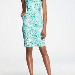 "<b>Ann Taylor</b> Cotton Sateen Split Neck Sheath Dress <a href=""http://www.anntaylor.com/ann/product/AT-Apparel/AT-RIVERA-CHIC/Cotton-Sateen-Sunbaked-Illusion-Print-Split-Neck-Sheath-Dress/277979?colorExplode=false&skuId=11408734&catid=cata000012&product"