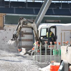 Working along the right-field wall -