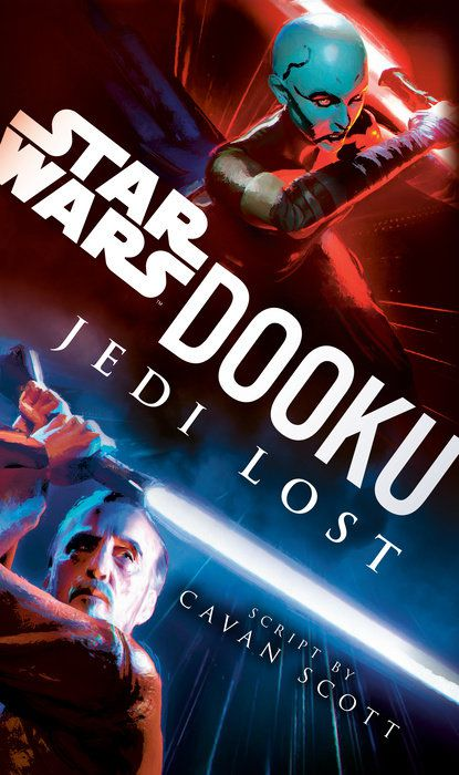 the cover of Dooku: Jedi Lost; the text cuts dramatically diagonally on the cover; the lower half has the dooku wielding a blue lightsaber, the upper half has Asajj Ventress wielding a redhead