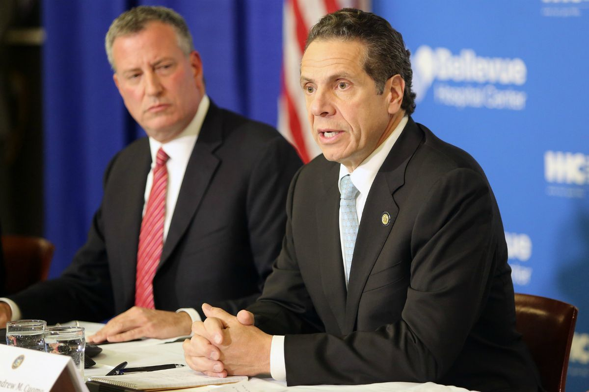 Mayor Bill de Blasio and Gov. Andrew Cuomo at a press conference in 2014.