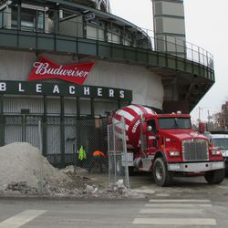 Wed 1/6: delivering concrete to the bleacher gate -