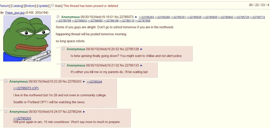 """A post on 4chan warns about an attack on a school in the """"northwest."""""""