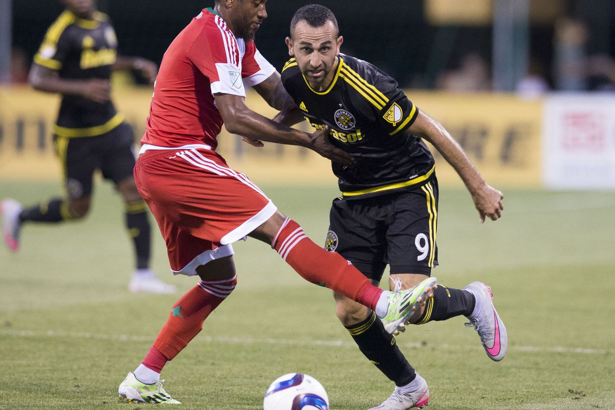 Justin Meram and Columbus Crew SC look to strike for two wins in a week at Real Salt Lake on Saturday.