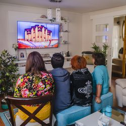A family in Villa alemana Quilpue, Chile, watches the Saturday morning session of The Church of Jesus Christ of Latter-day Saints' 191st Annual General Conference on April 3, 2021.