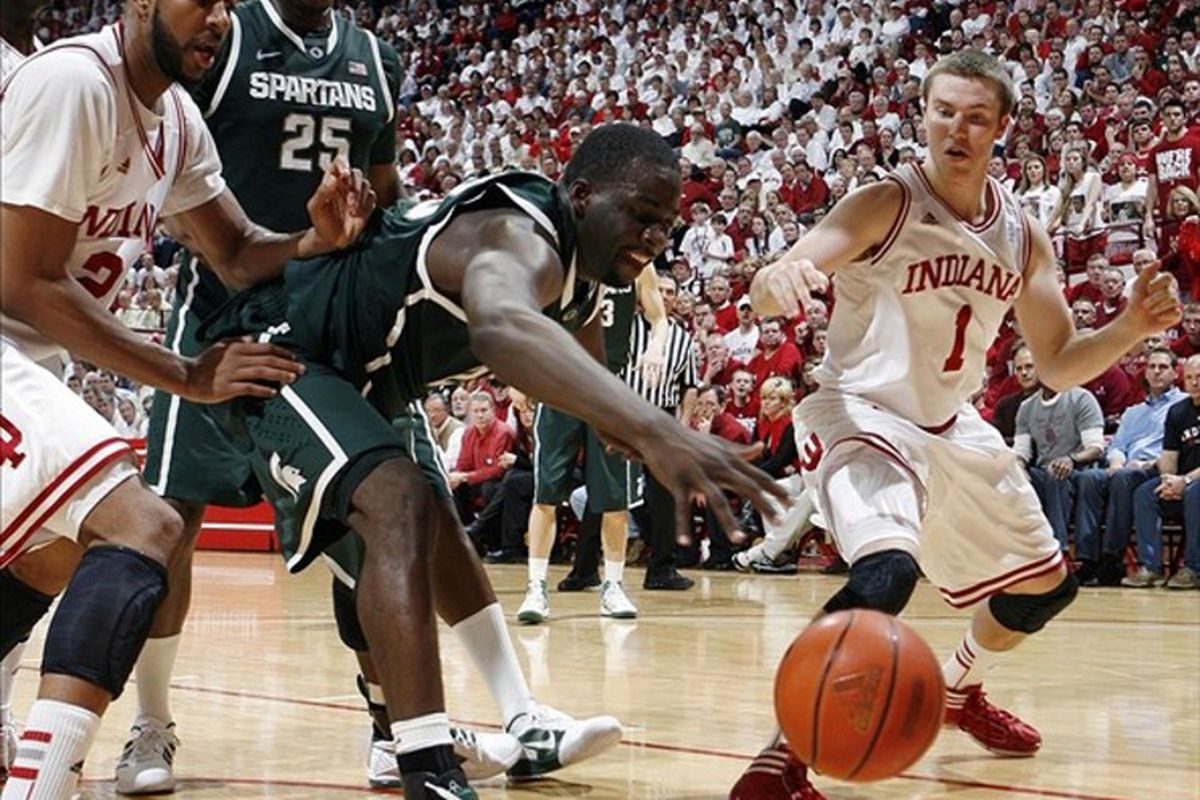 Draymond Green did everything he could, but it wasn't enough to lift Michigan State over an Indiana team that looked superior on Tuesday night.  Mandatory Credit: Brian Spurlock-US PRESSWIRE
