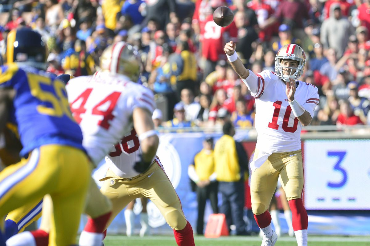 San Francisco 49ers QB Jimmy Garoppolo throws a pass against the Los Angeles Rams