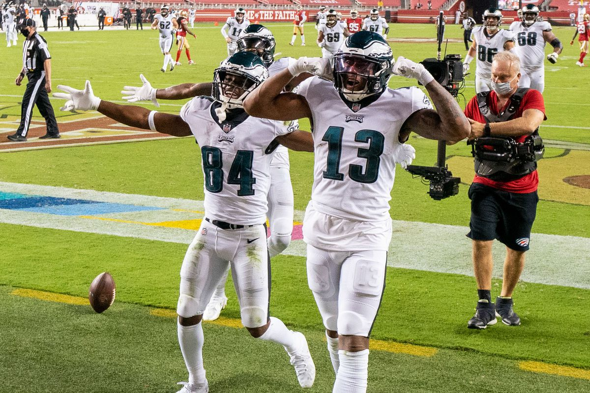 Philadelphia Eagles wide receiver Travis Fulgham (13) celebrates after scoring a touchdown against the San Francisco 49ers during the fourth quarter at Levi's Stadium.