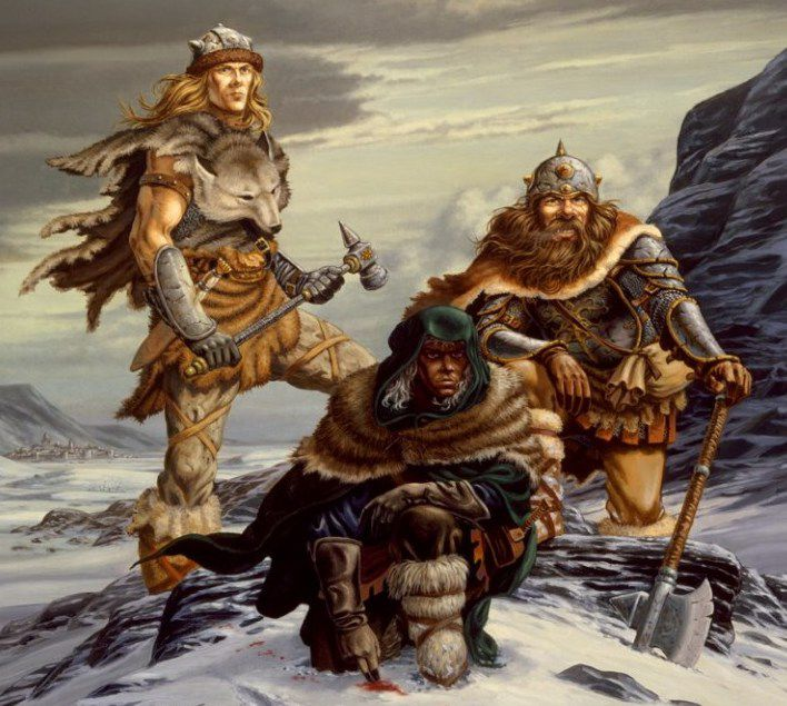 Drizzt stands in the snow, bending to check a blood trail. Behind him the fighter Wulfgar and a dwarf.
