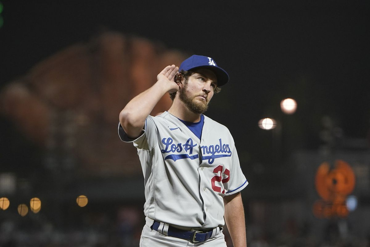 Trevor Bauer of the Los Angeles Dodgers reacts to fans booing him as he leaves the game against the San Francisco Giants in the seventh inning at Oracle Park on May 21, 2021 in San Francisco, California.