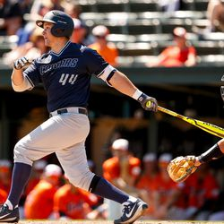 BYU's Brock Hale makes a hit during the Cougars' 13-2 loss to Cal State Fullerton in NCAA baseball tournament action on Thursday, June 1, 2017, at Klein Field at Sunken Diamond in Stanford, California.