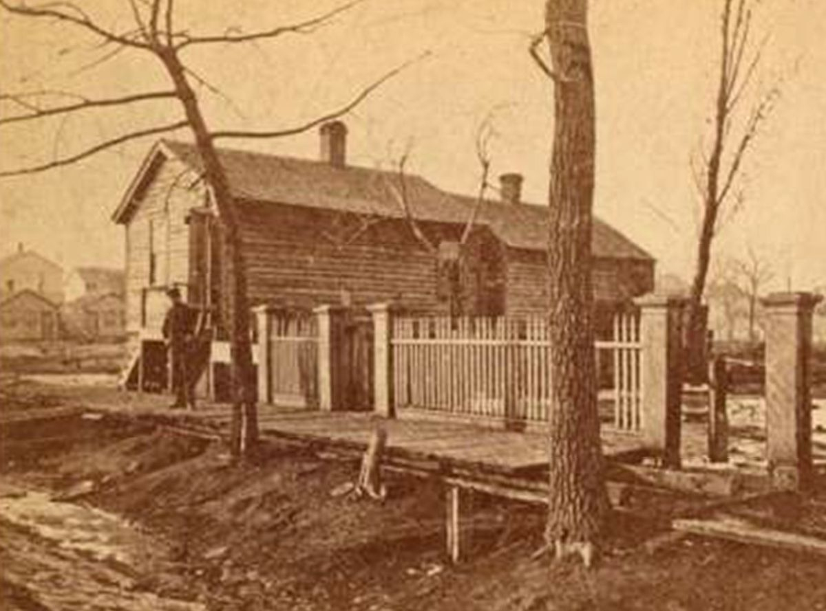 The cottage of the O'Leary family, at what was then 137 DeKoven Street. The Chicago Fire Department later built its training academy on the site.