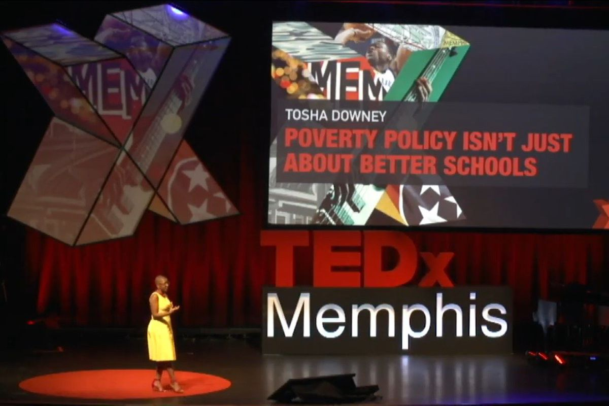 Tosha Downey, advocacy director for Teacher Town in Memphis, delivers her TEDxMemphis talk Aug. 27.