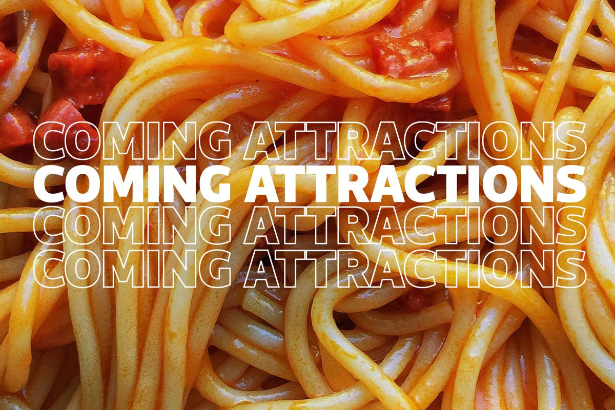 """spaghetti with the words """"coming attractions"""" over it"""