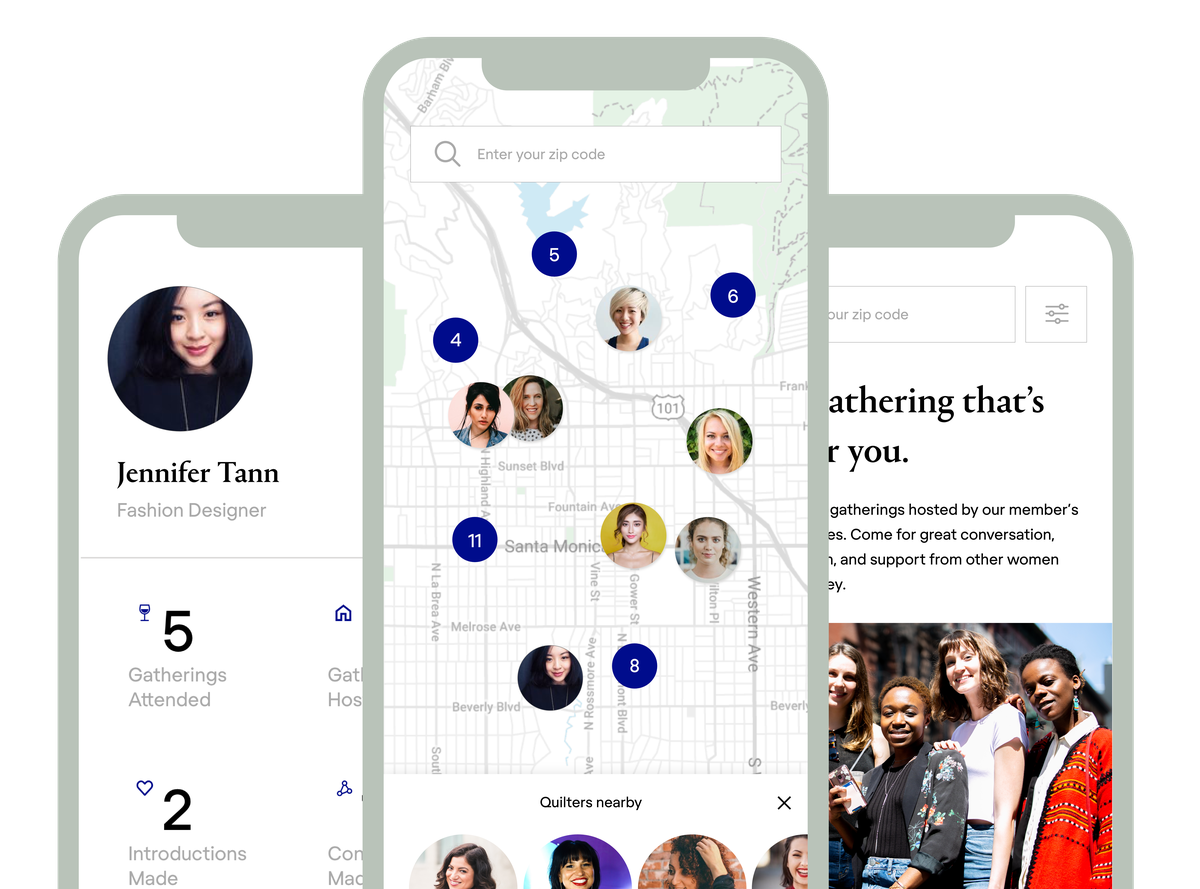 The Quilt app allows users to learn about other community members and find nearby events.