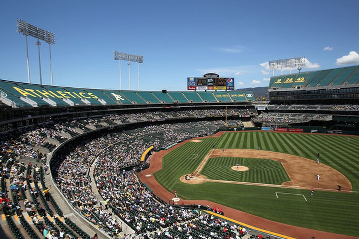 OAKLAND, CA - JUNE 10:  A general view of the Los Angeles Angels of Anaheim against the Oakland Athletics MLB game at the Oakland-Alameda County Coliseum on June 10, 2010 in Oakland, California.  (Photo by Jed Jacobsohn/Getty Images)