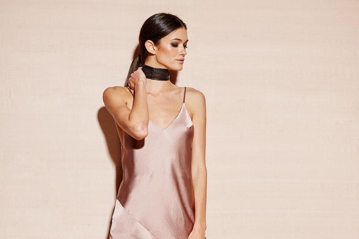 A light pink slip dress with a bias cut