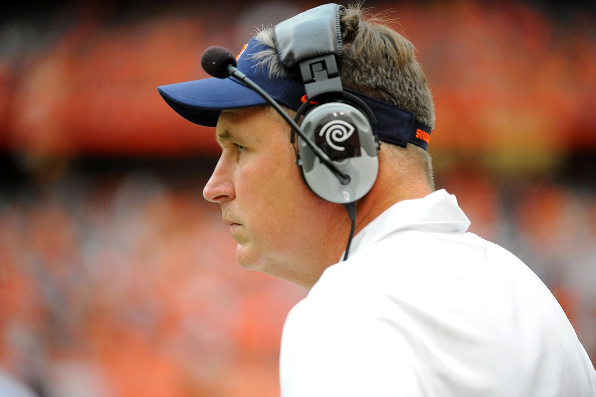 Sep 1, 2012; Syracuse, NY, USA; Syracuse Orange head coach Doug Marrone looks on during the fourth quarter against the Northwestern Wildcats at the Carrier Dome. Mandatory Credit: Rich Barnes-US PRESSWIRE