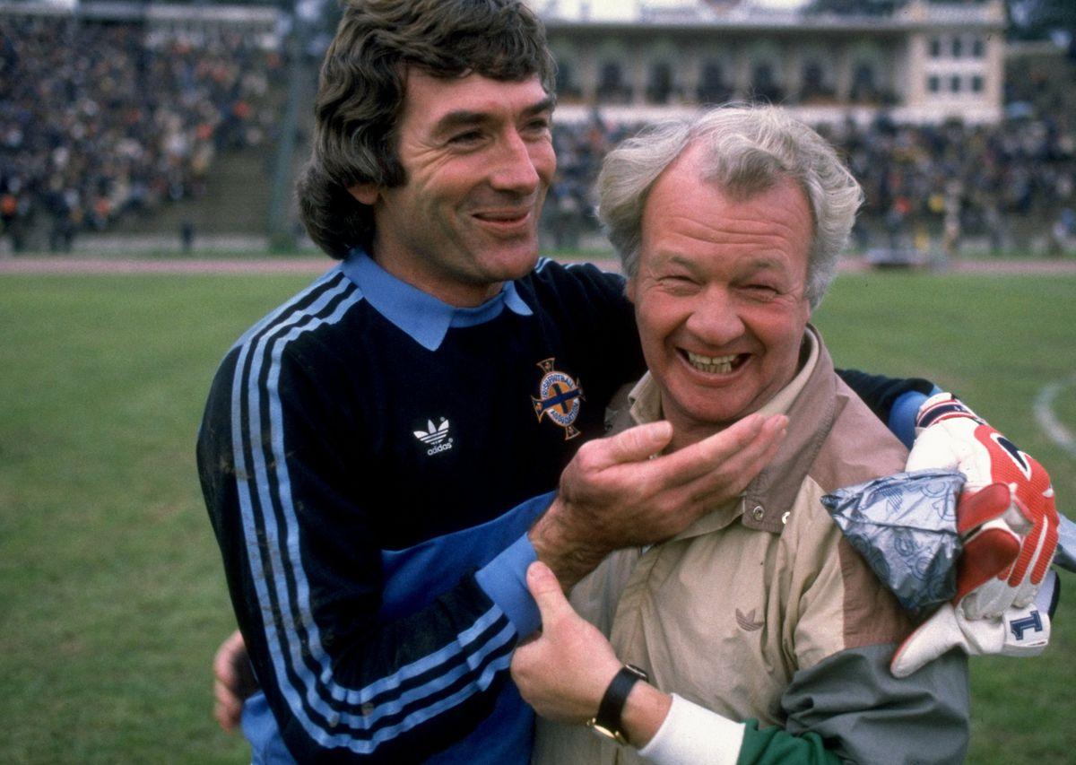Northern Ireland goalkeeper Pat Jennings and Northern Ireland Manager Billy Bingham