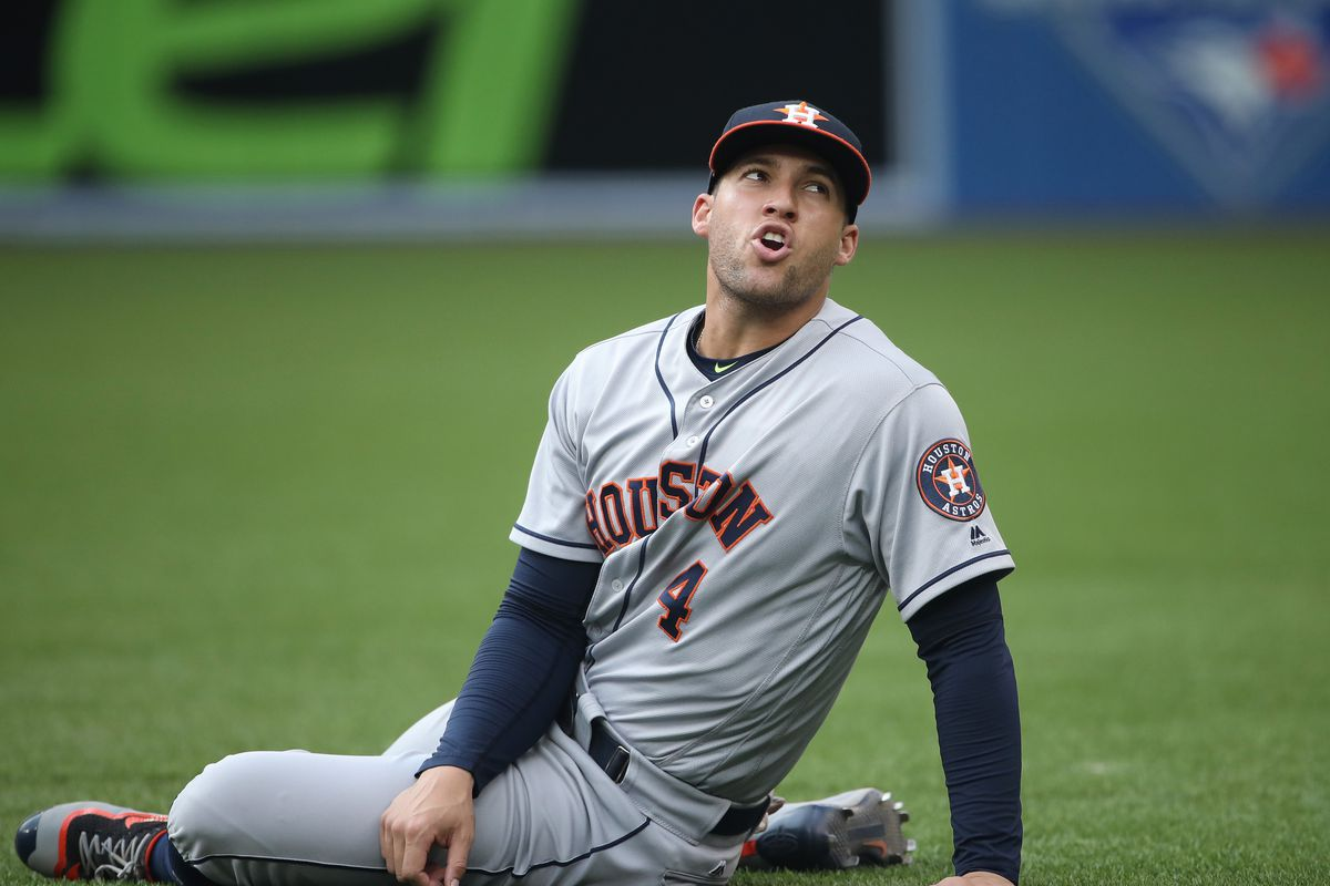 George Springer #4 of the Houston Astros stretches moments before the start of MLB game action against the Toronto Blue Jays on August 12, 2016 at Rogers Centre in Toronto, Ontario, Canada