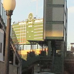 Best view I could get of the wooden forms beneath the center-field scoreboard -