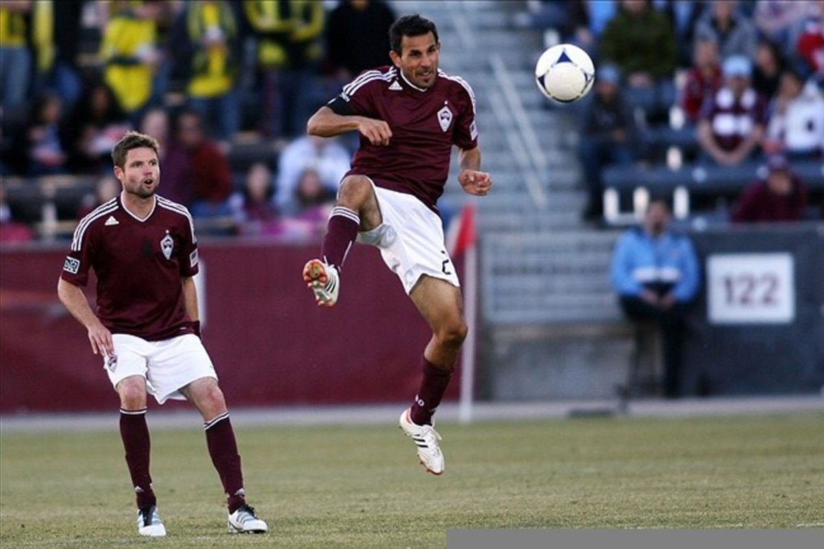 March 10, 2012; Denver, CO, USA; Colorado Rapids defender Hunter Freeman (2) heads the ball during the second half against the Columbus Crew at the Dick's Sporting Goods Park.  Mandatory Credit: Chris Humphreys-US PRESSWIRE