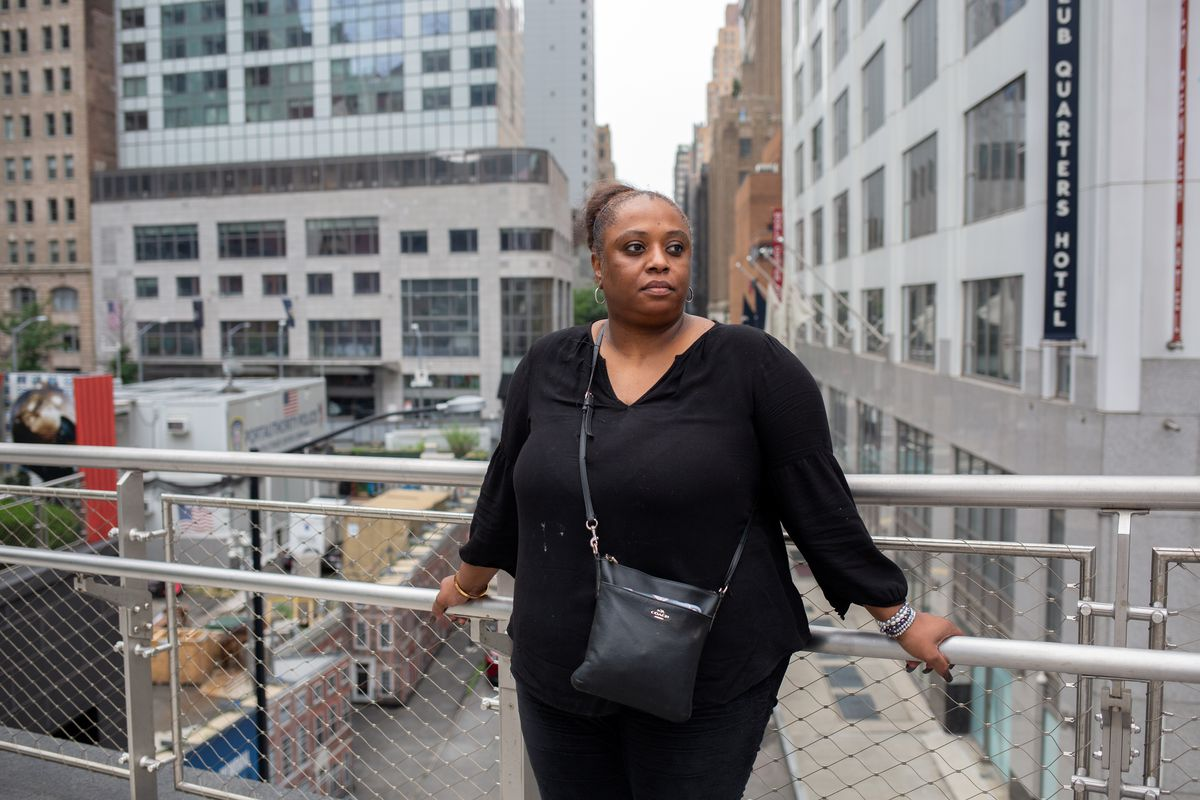 9/11 survivor and Lower Manhattan resident Mariama James spoke about the lack of affordable housing around the World Trade Center on July 14, 2021.