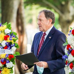 Gov. Gary Herbert speaks during a ceremony honoring Utah's Seraph Young Ford at Arlington National Cemetery in Arlington, Va., on Tuesday, Sept. 29, 2020.Ford was the first woman to cast a ballot in the United States.