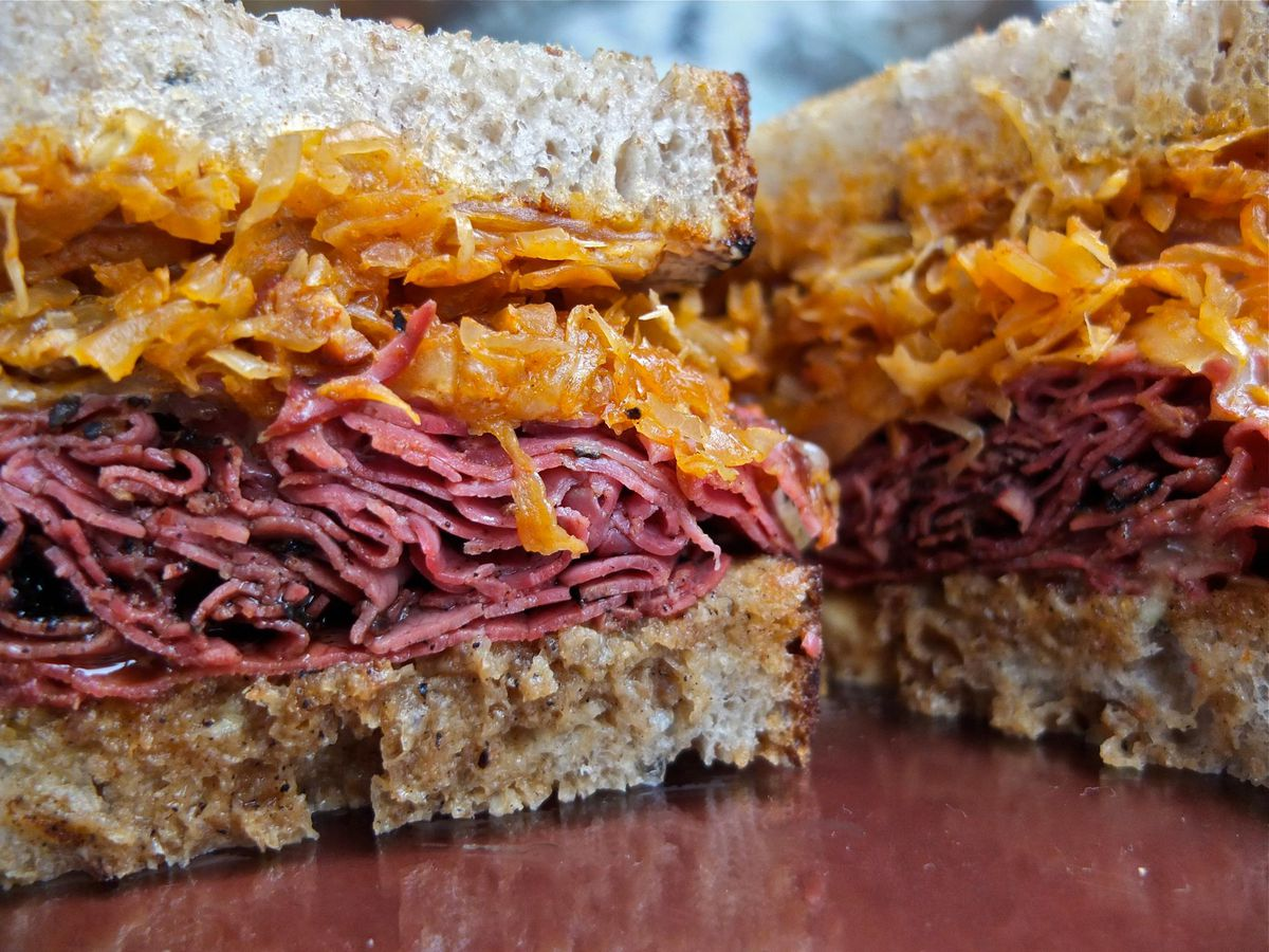A meat-packed sandwich on rye from the Swinery.