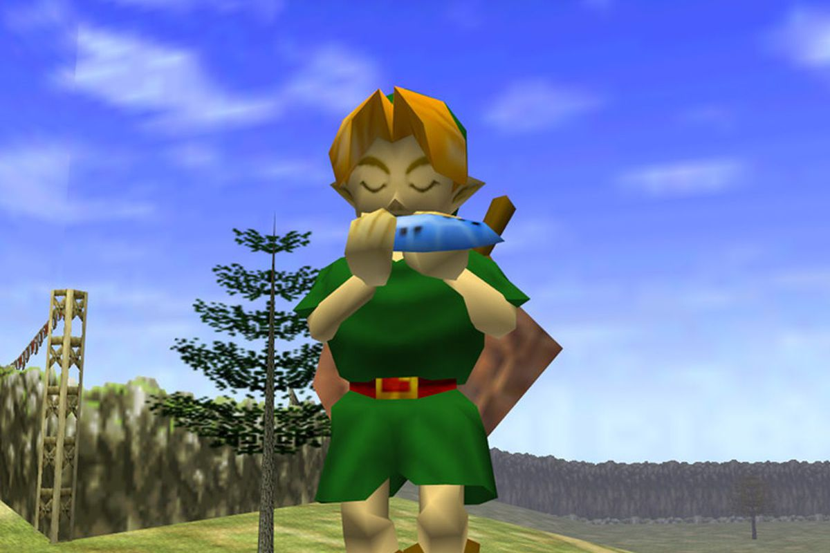 Link playing the Ocarina in The Legend of Zelda: Ocarina of Time on Nintendo 64