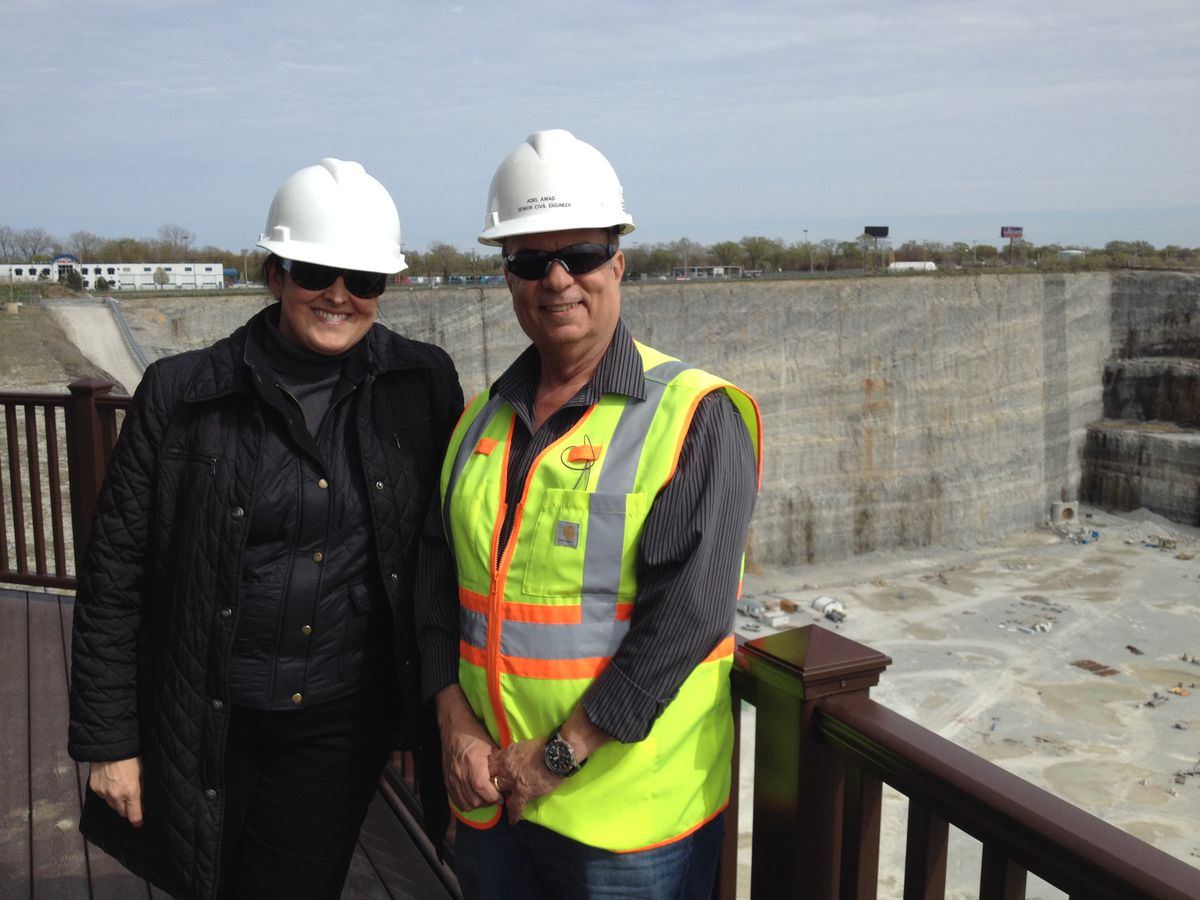 <small><strong>Mariyana T. Spyropoulos, president of the Metropolitan Water Reclamation District, and Adel Awad, senior civil engineer | Neil Steinberg/Sun-Times</strong></small>
