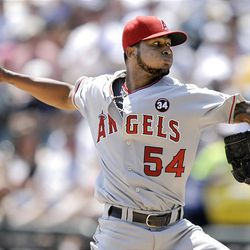 Los Angeles Angels starting pitcher Ervin Santana delivers against the Chicago White Sox in the first inning during a baseball game in Chicago, Thursday.