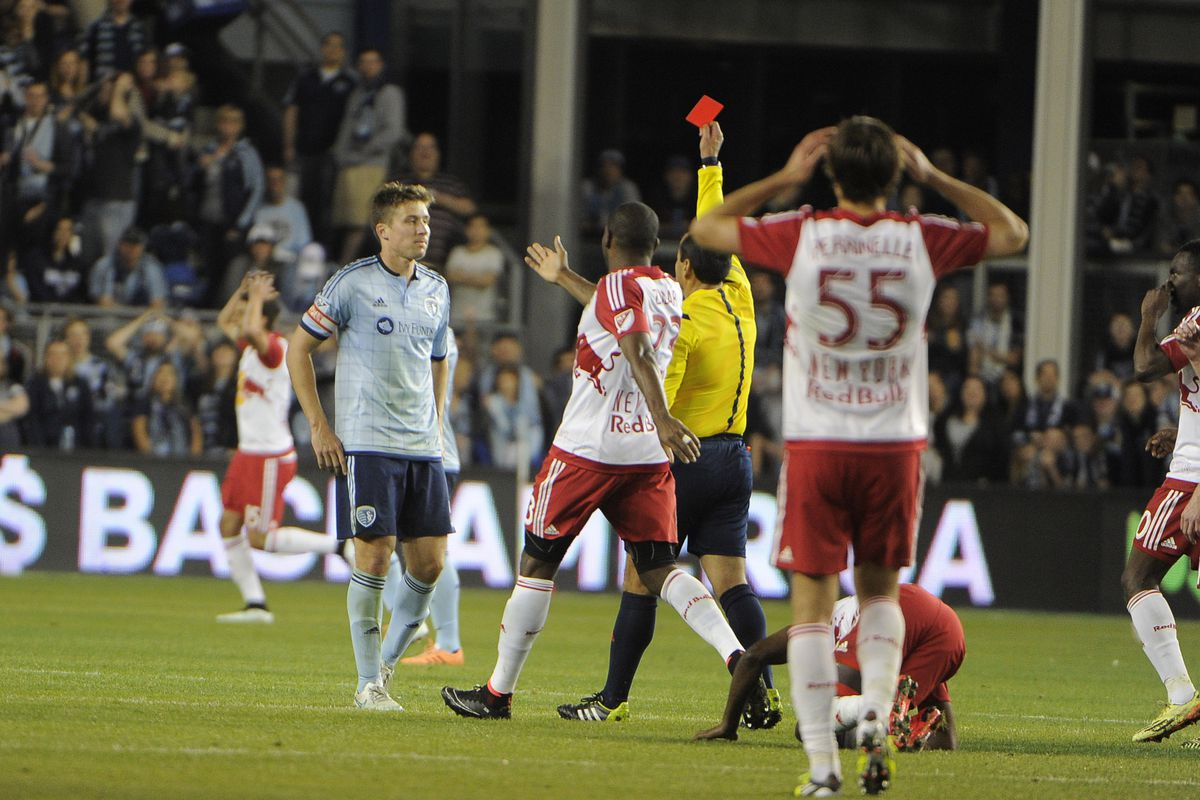 Matt Besler shown a red card in the 70th minute Sunday night.