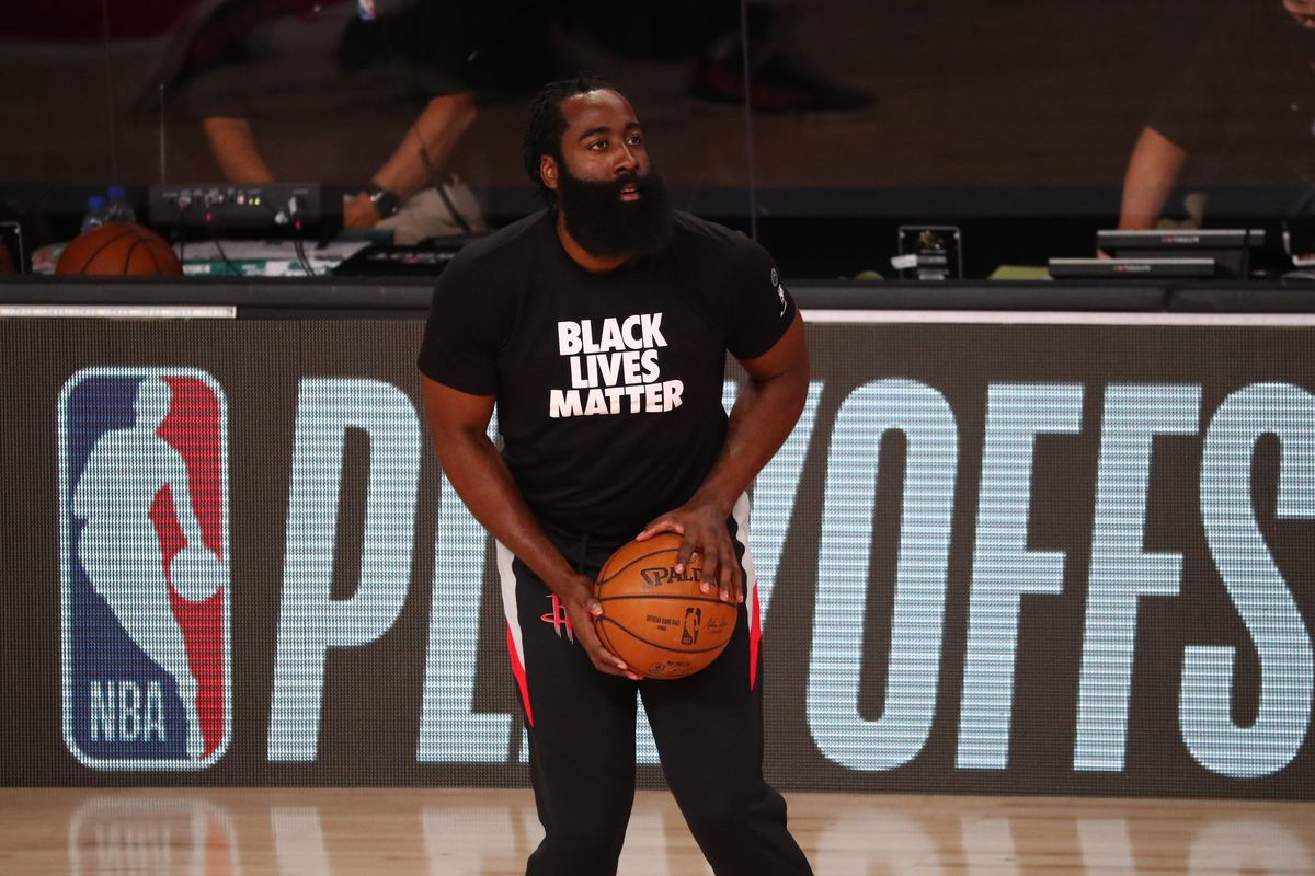 Houston Rockets guard James Harden warms up prior to game five of the second round against the Los Angeles Lakers in the 2020 NBA Playoffs at ESPN Wide World of Sports Complex.