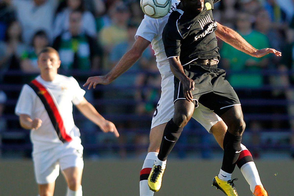 PORTLAND OR - JULY 17:  Pablo Zabaleta #5 of Manchester City goes up for a header against Alex Nimo #16 of the Portland Timbers during a friendly match on July 17 2010 at Merlo Field in Portland Oregon.  (Photo by Jonathan Ferrey/Getty Images)
