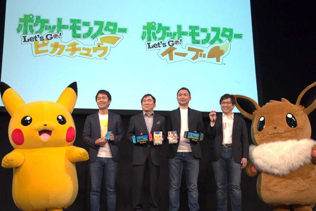 Members of The Pokémon Company during a 2018 press conference reveal.