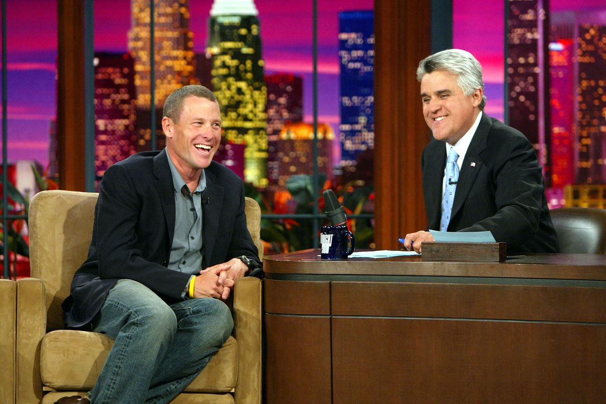 Lance Armstrong guesting on NBC's 'The Tonight Show with Jay Leno' at the NBC Studios on September 1, 2004. Photo credit: