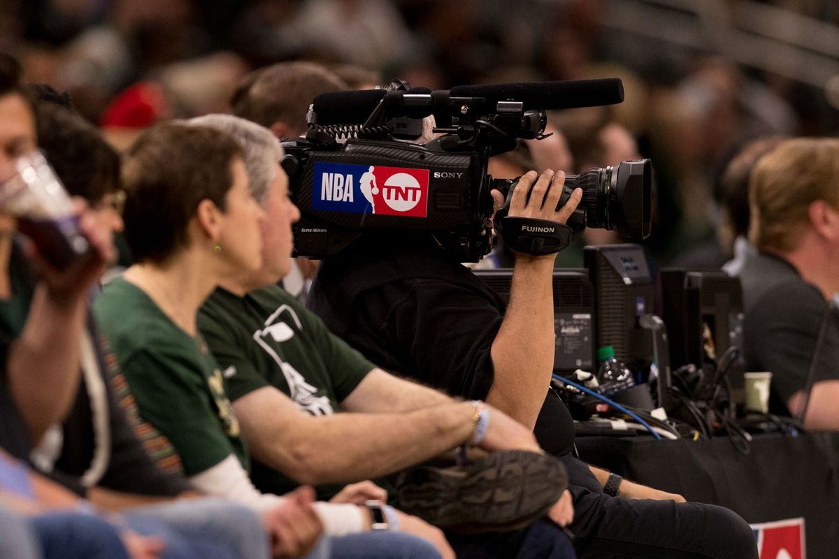 A TNT TV camera during game five of the second round of the 2019 NBA Playoffs between the Boston Celtics and Milwaukee Bucks at Fiserv Forum.