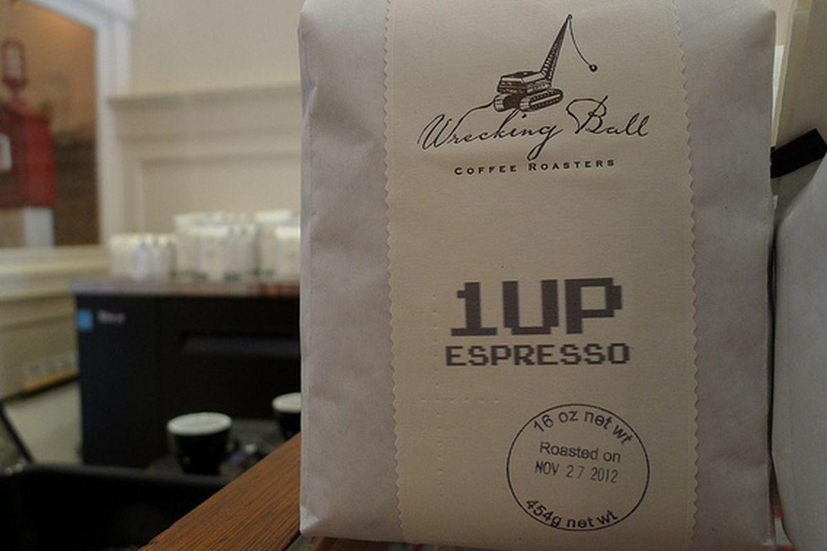 A bag of Wrecking Ball espresso.