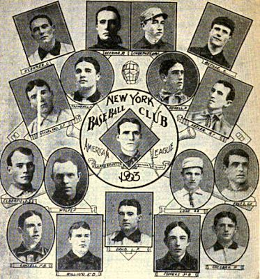 A flyer featuring photos of the players on the American League's New York City baseball team.