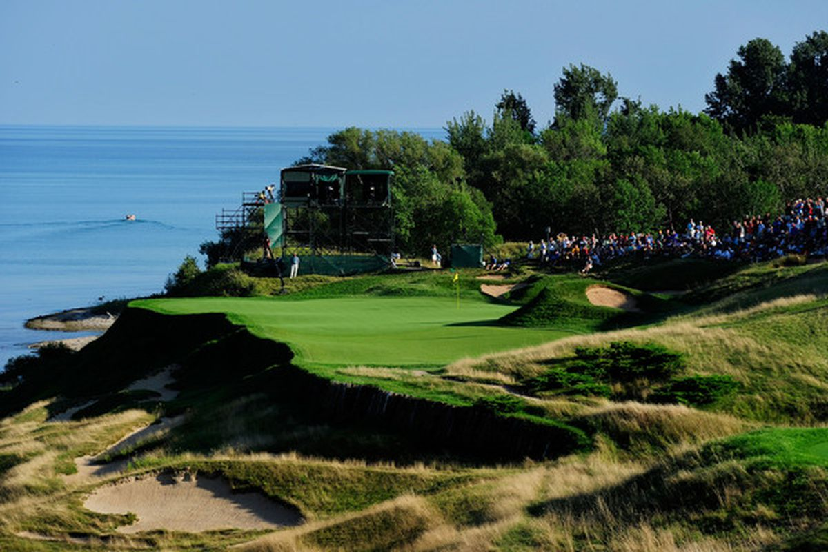 KOHLER WI - AUGUST 14: A general view of the 17th hole during the third round of the 92nd PGA Championship on the Straits Course at Whistling Straits on August 14 2010 in Kohler Wisconsin.  (Photo by Stuart Franklin/Getty Images)