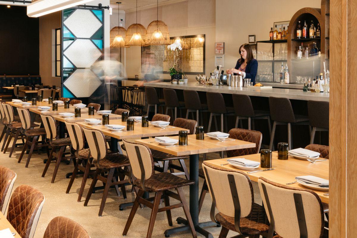 The bar in a modern Israeli restaurant