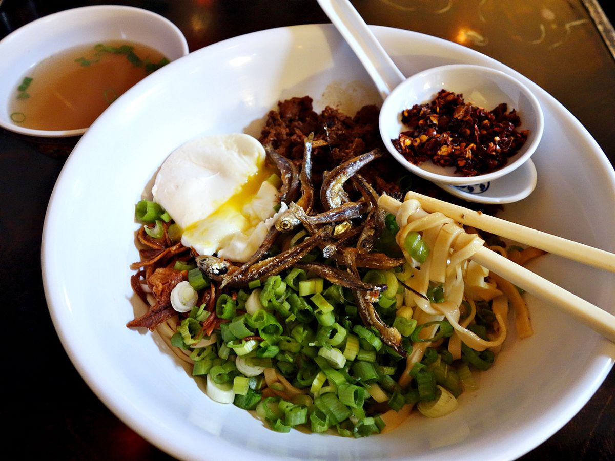 Kedai Makan delivers Malaysian food, such as this chili pan mee dish with ground pork and dried anchovies.