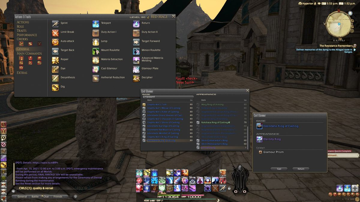 A Final Fantasy 14 screenshot showcasing the menus needed to manually glamour items