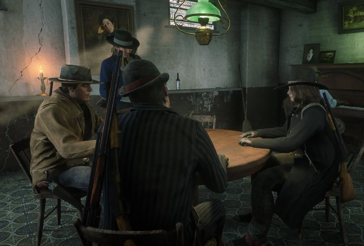 Red Dead Online - players assembled in a bar