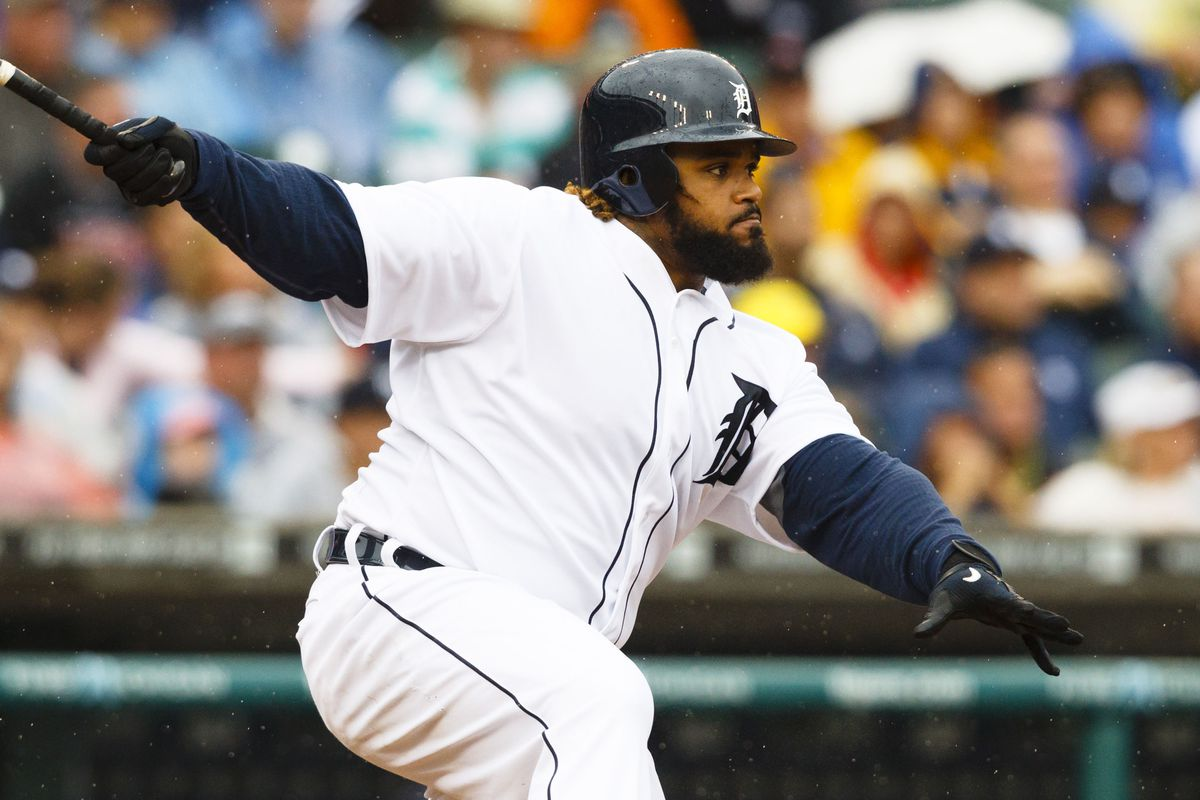 August 9, 2012; Detroit, MI, USA; Detroit Tigers first baseman Prince Fielder (28) hits a single during the eighth inning against the New York Yankees at Comerica Park. New York won 4-3.