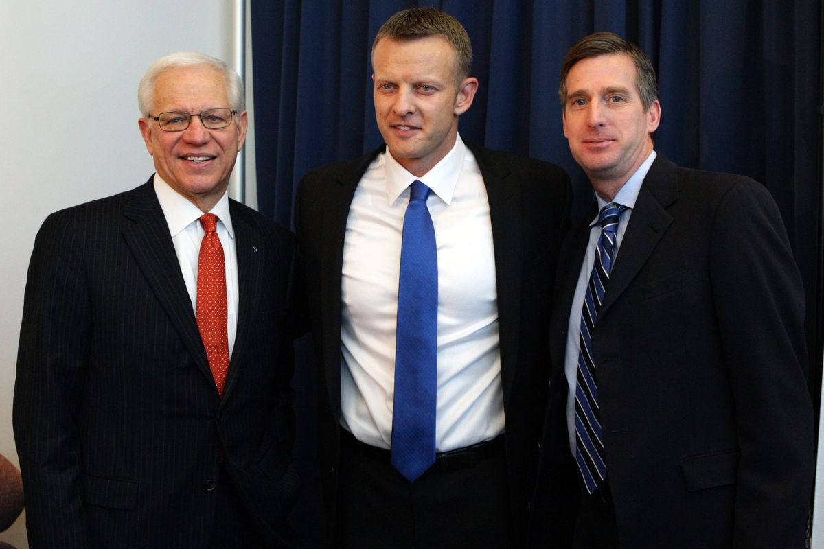 BSU President Bob Kustra (left) is highly involved in college sports.