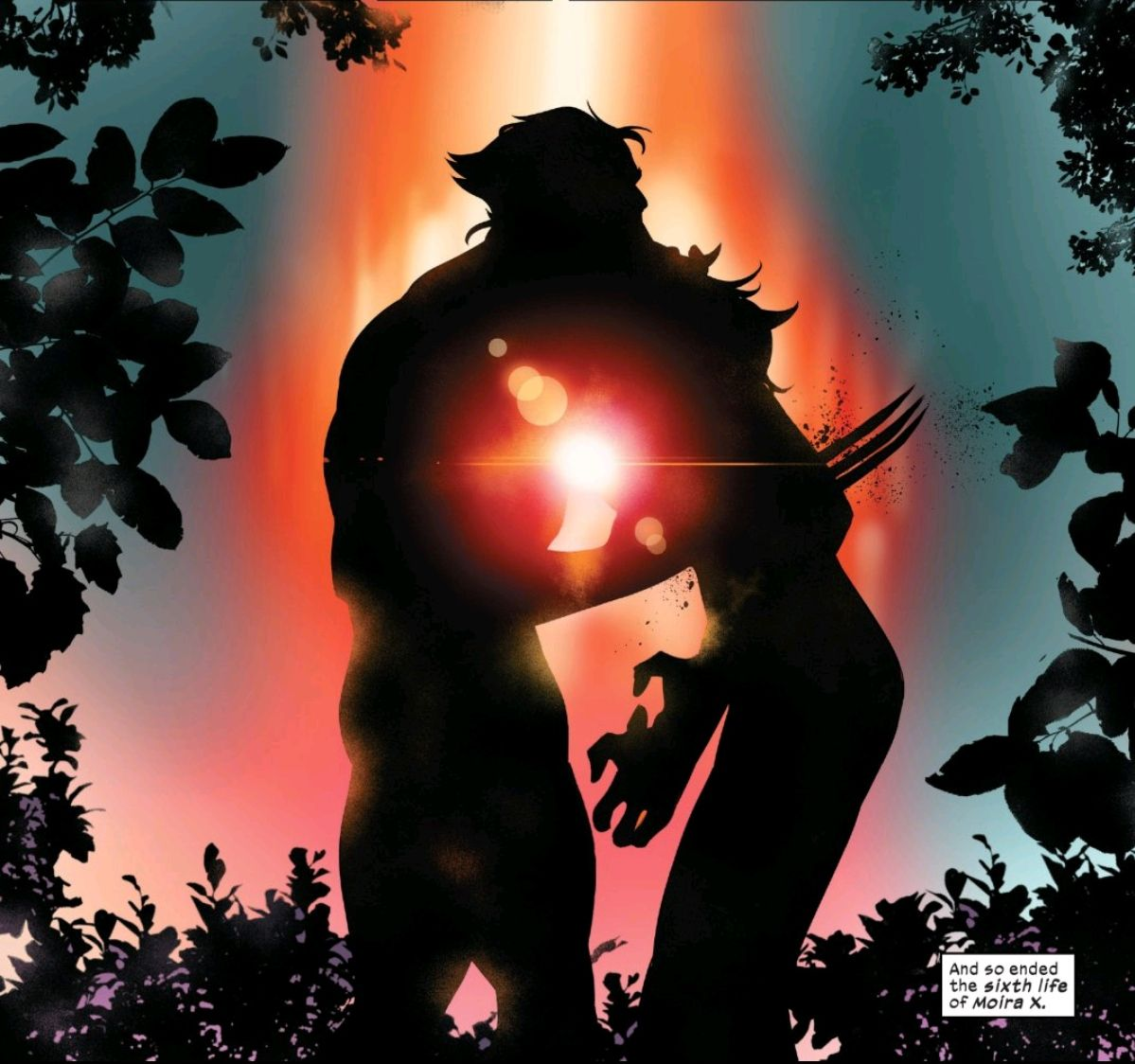 Wolverine consensually executes Moira VI, one thousand years into the future, in Powers of X #6, Marvel Comics (2019).