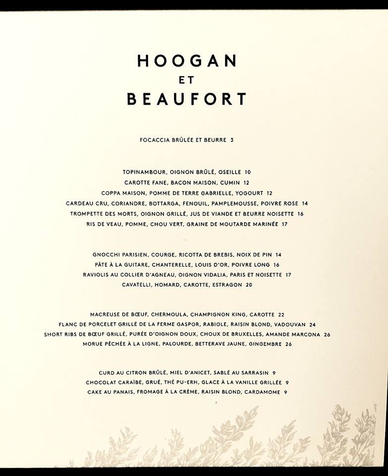 Hoogan & Beaufort's menu