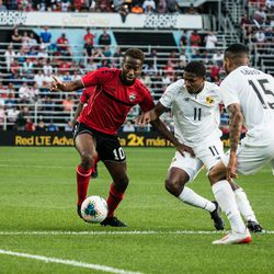 June,18, 2019 - Saint Paul, Minnesota, United States - Trinidad and Tobago (Minnesota United) midfielder Kevin Molino (10) during a CONCACAF Gold Cup match between Trinidad and Tobago and Panama at Allianz Field. (Photo by Tim C McLaughlin/@timcmclaughlin)